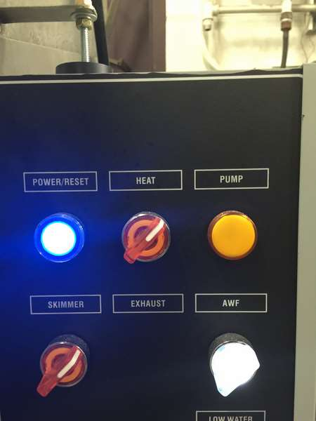 Department of transportation spray parts washer - control panel