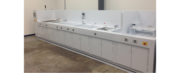 Wet Bench Ultrasonic Clean, Rinse, Passivation with Integrated Exhaust