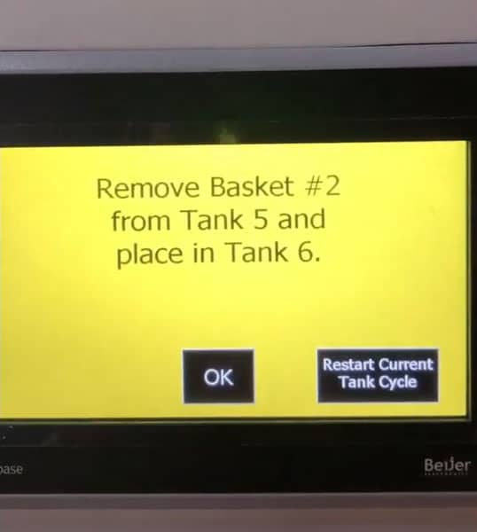 Ultrasonic console PLC screen - Move baskets